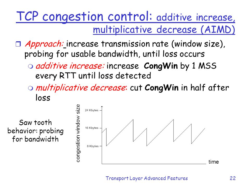 TCP congestion control: additive increase, multiplicative decrease (AIMD)