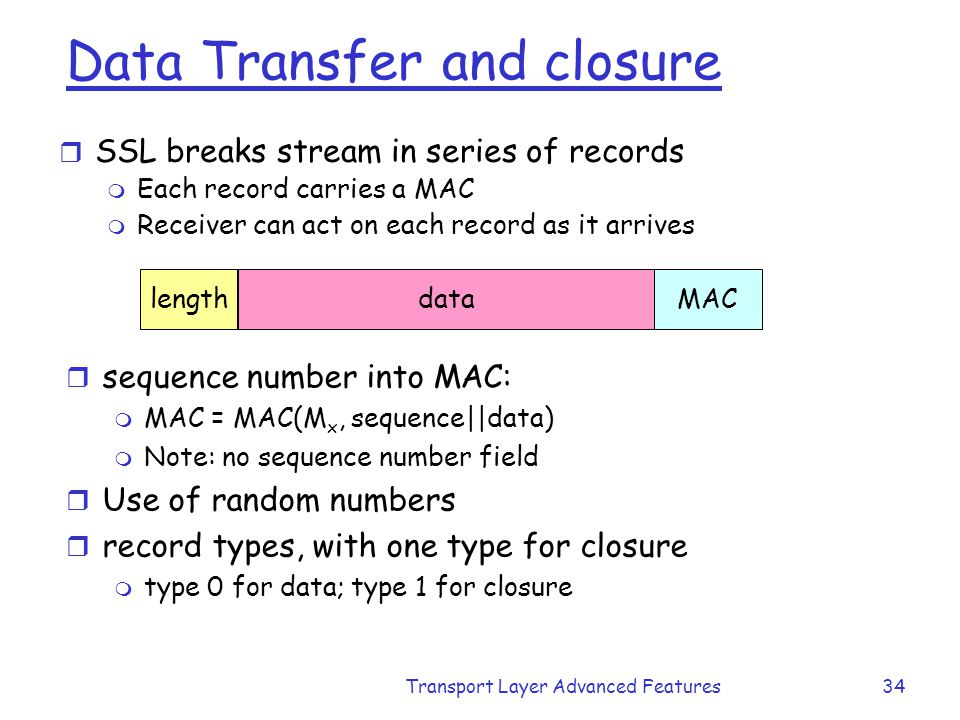 Data Transfer and closure