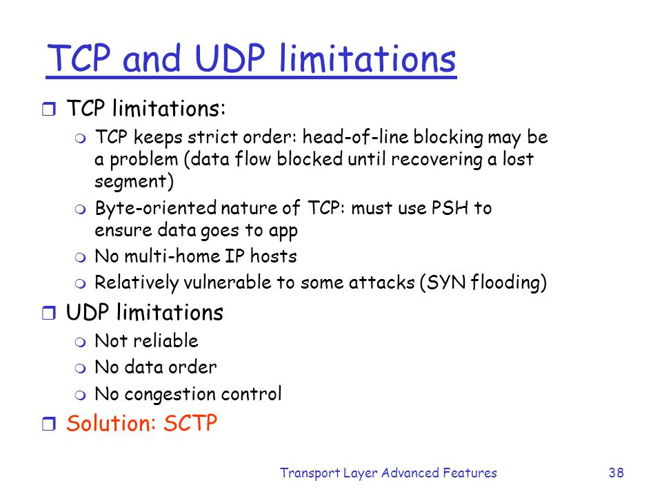TCP and UDP limitations