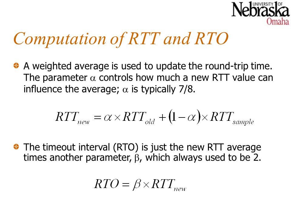 Computation of RTT and RTO