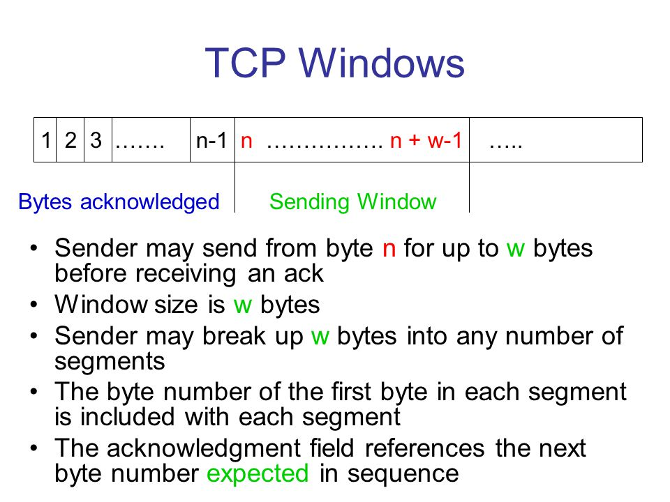 TCP Windows 1 2 3 ……. n-1 n ……………. n + w-1 ….. Bytes acknowledged. Sending Window.