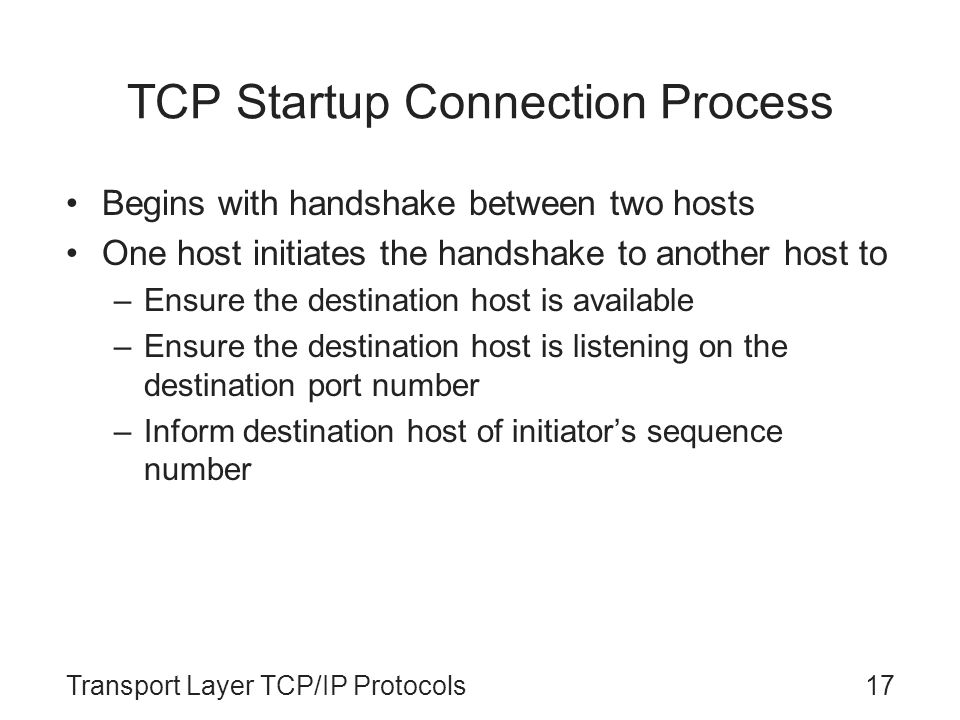 TCP Startup Connection Process