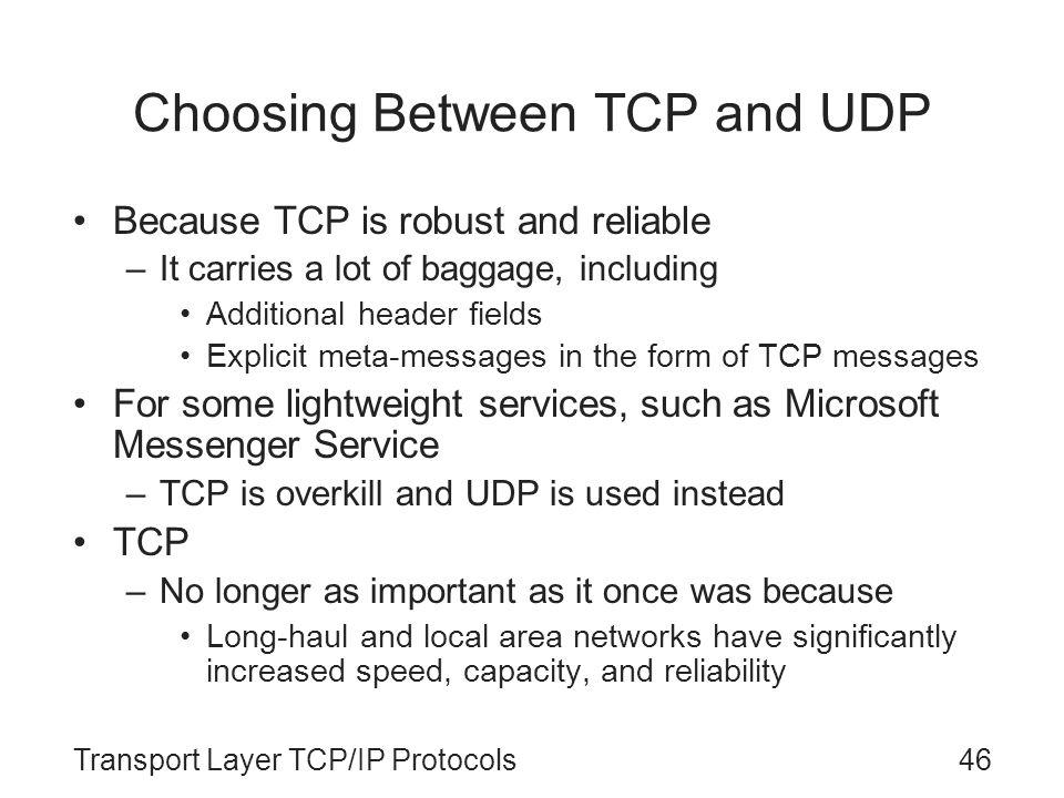 Choosing Between TCP and UDP
