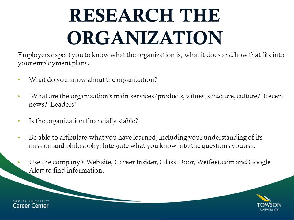 RESEARCH THE ORGANIZATION