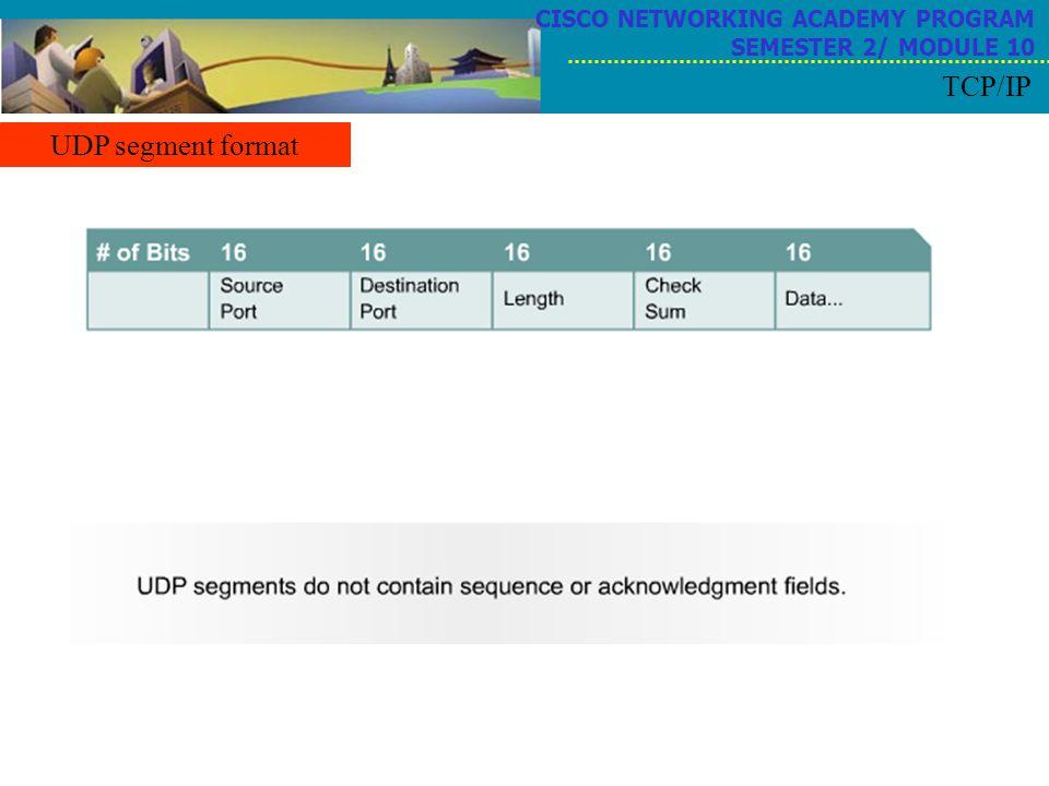 TCP/IP UDP segment format CISCO NETWORKING ACADEMY PROGRAM