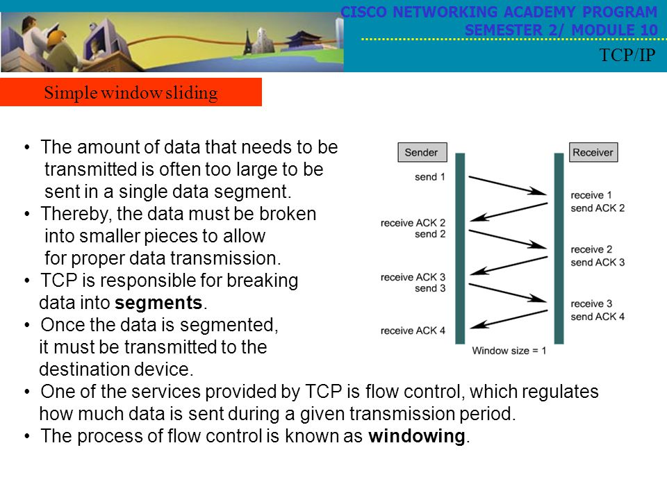TCP is responsible for breaking data into segments.