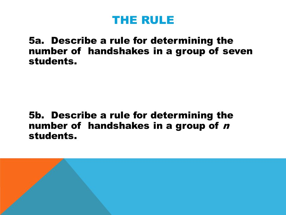 The Rule 5a. Describe a rule for determining the number of handshakes in a group of seven students.