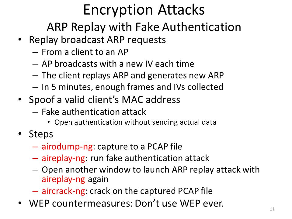 Encryption Attacks ARP Replay with Fake Authentication