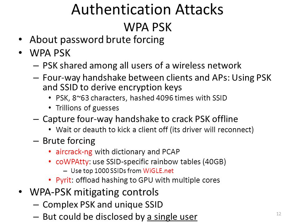 Authentication Attacks WPA PSK