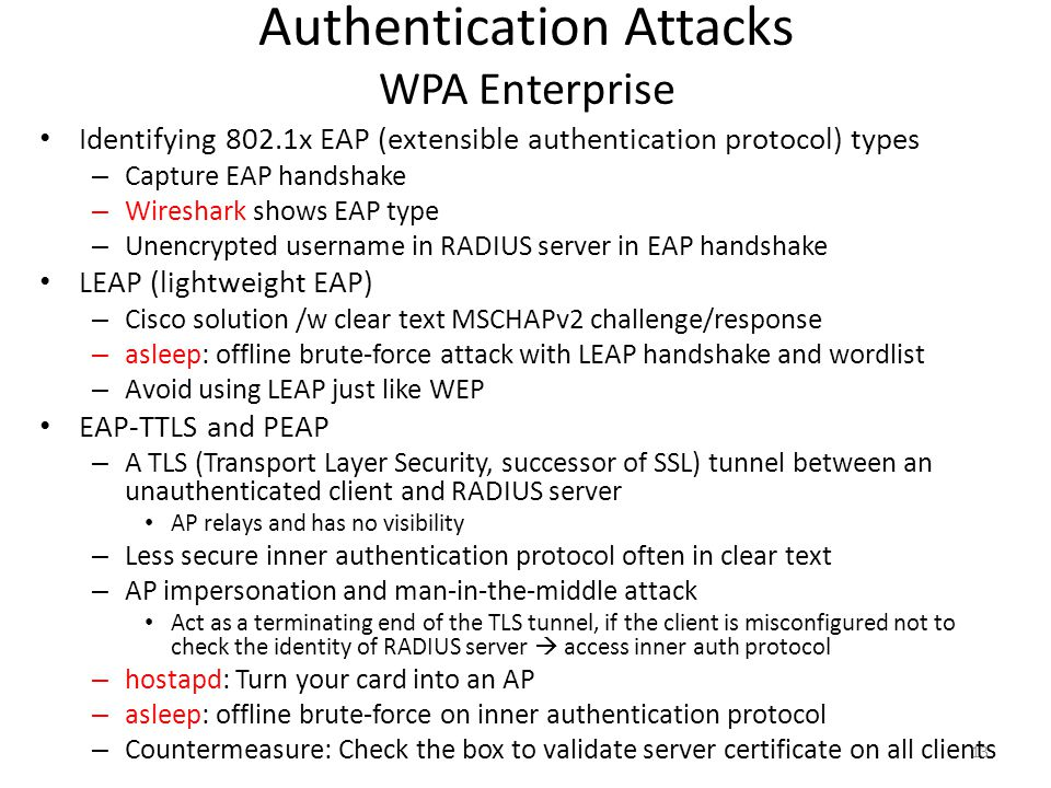Authentication Attacks WPA Enterprise