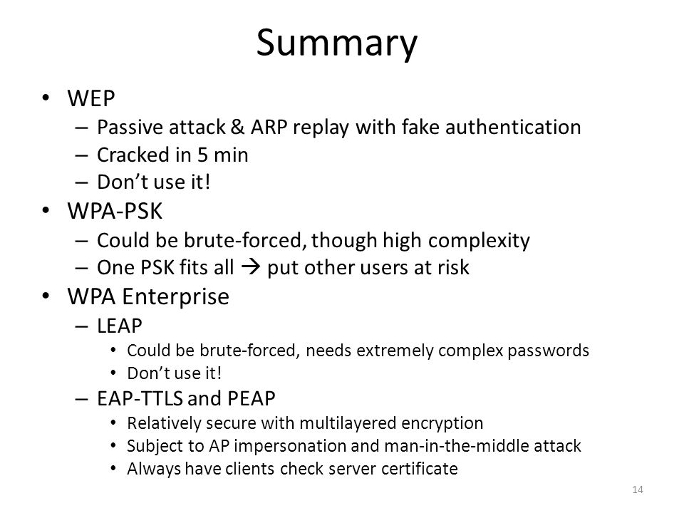 Summary WEP WPA-PSK WPA Enterprise