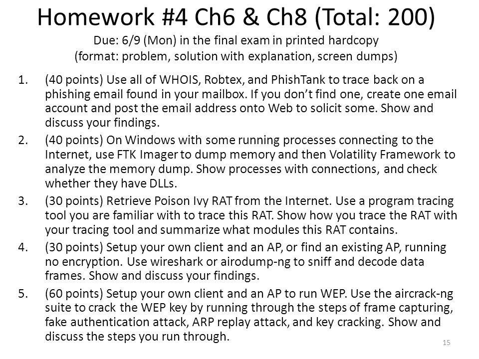 Homework #4 Ch6 & Ch8 (Total: 200) Due: 6/9 (Mon) in the final exam in printed hardcopy (format: problem, solution with explanation, screen dumps)