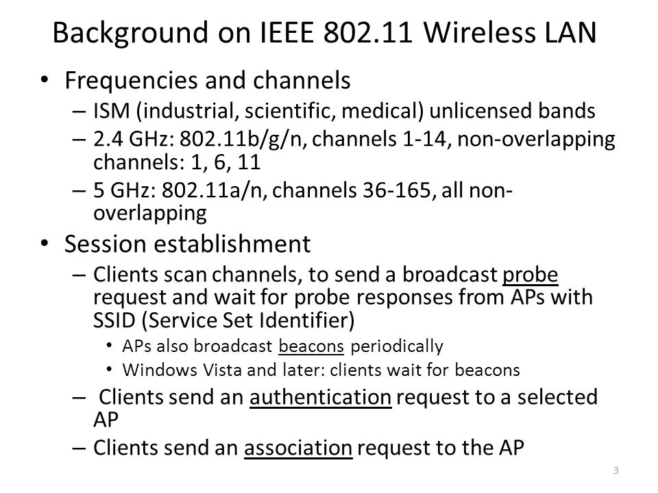 Background on IEEE 802.11 Wireless LAN