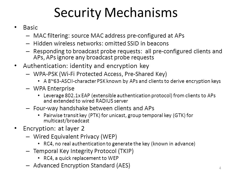 Security Mechanisms Basic Authentication: identity and encryption key