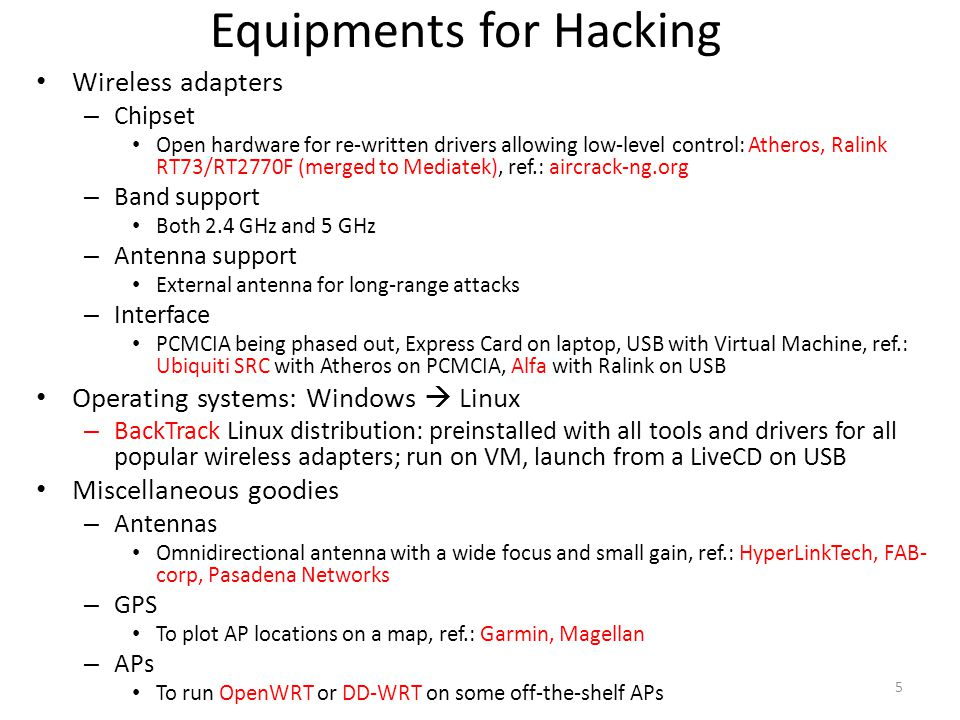 Equipments for Hacking