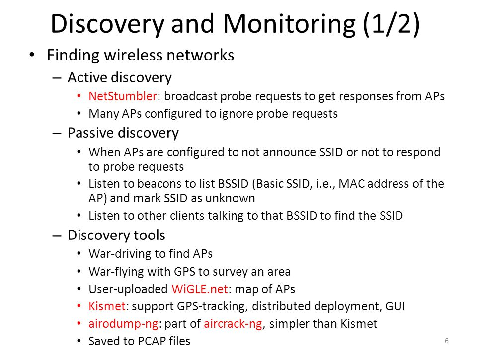Discovery and Monitoring (1/2)