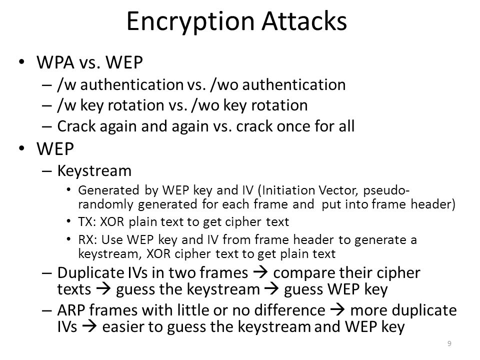 Encryption Attacks WPA vs. WEP WEP