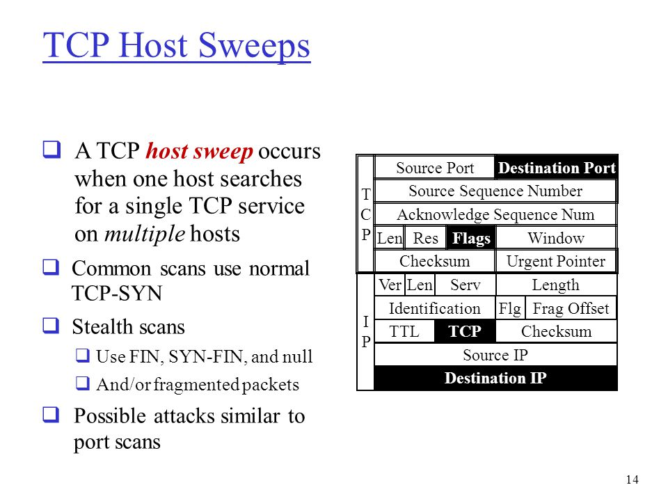 TCP Host Sweeps A TCP host sweep occurs when one host searches for a single TCP service on multiple hosts.