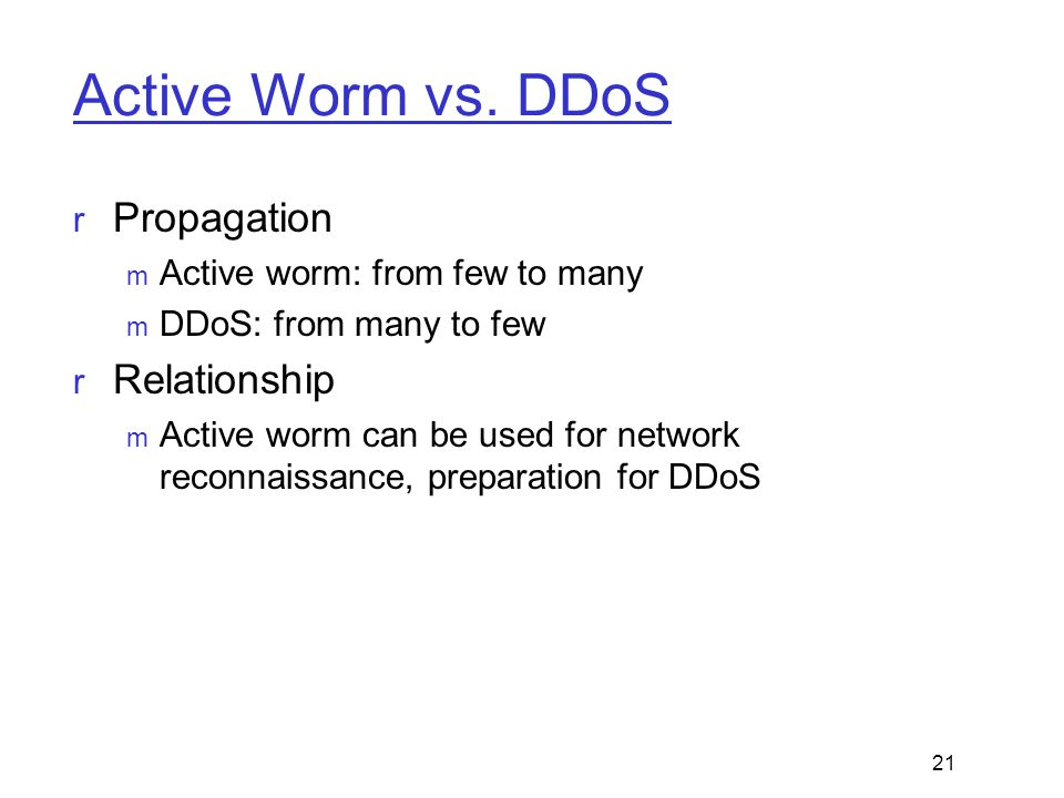 Active Worm vs. DDoS Propagation Relationship