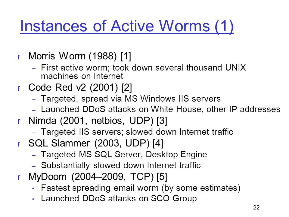 Instances of Active Worms (1)