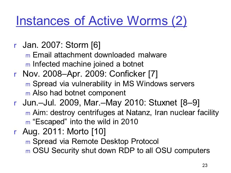 Instances of Active Worms (2)