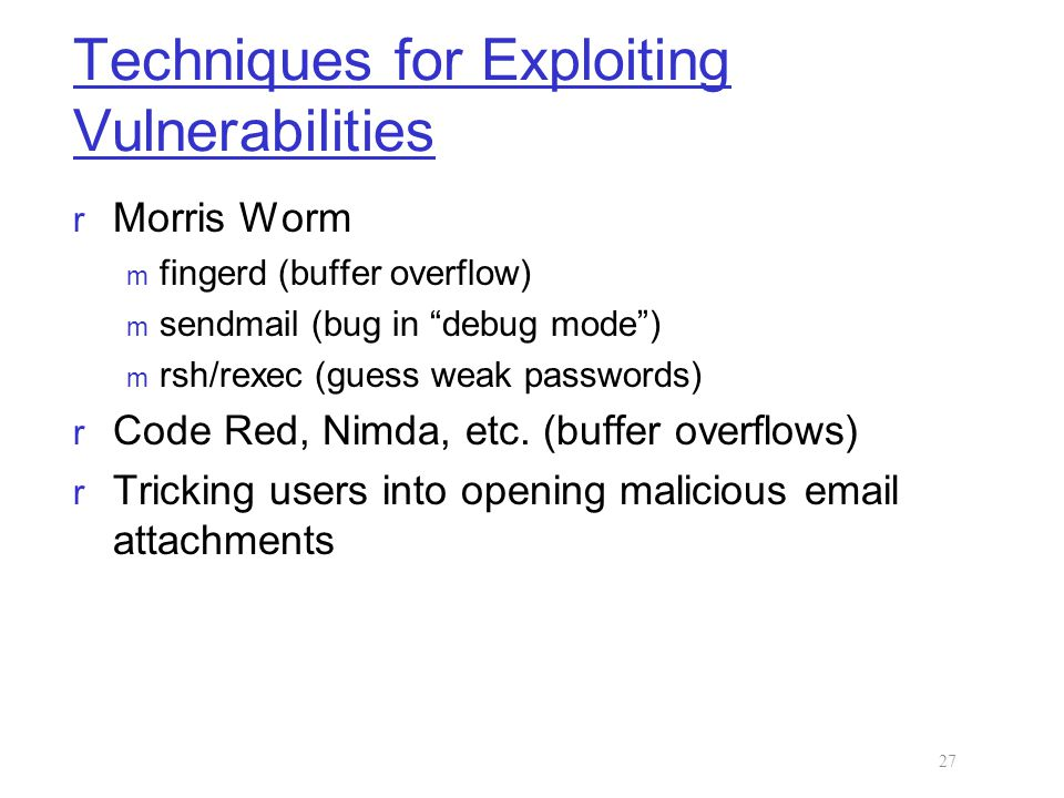Techniques for Exploiting Vulnerabilities
