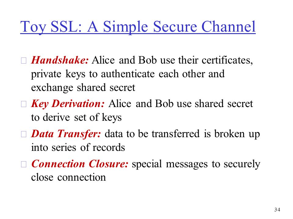 Toy SSL: A Simple Secure Channel