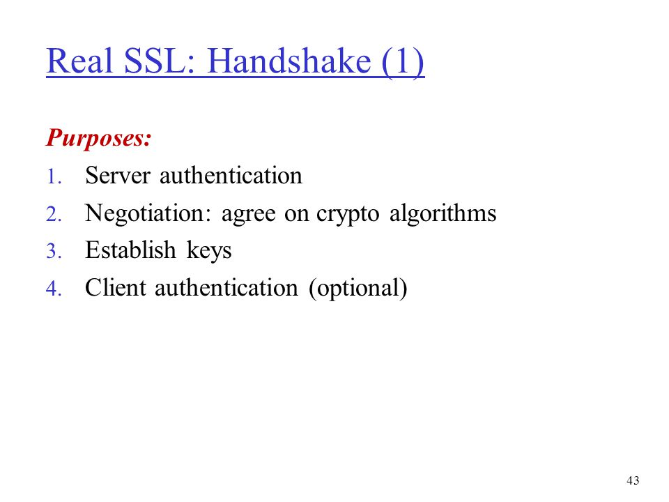 Real SSL: Handshake (1) Purposes: Server authentication