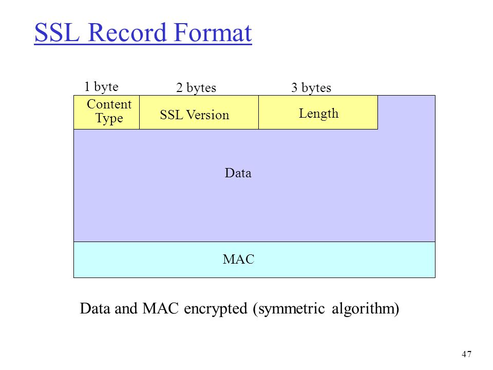 SSL Record Format Data and MAC encrypted (symmetric algorithm) Content