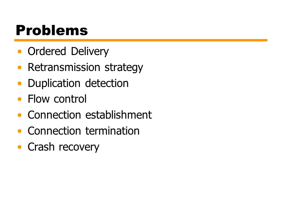 Problems Ordered Delivery Retransmission strategy