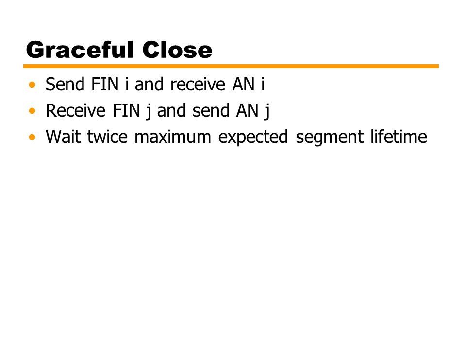 Graceful Close Send FIN i and receive AN i Receive FIN j and send AN j