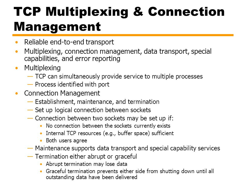 TCP Multiplexing & Connection Management