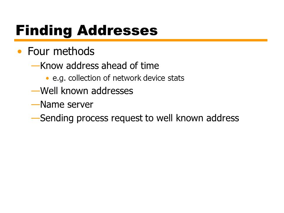 Finding Addresses Four methods Know address ahead of time