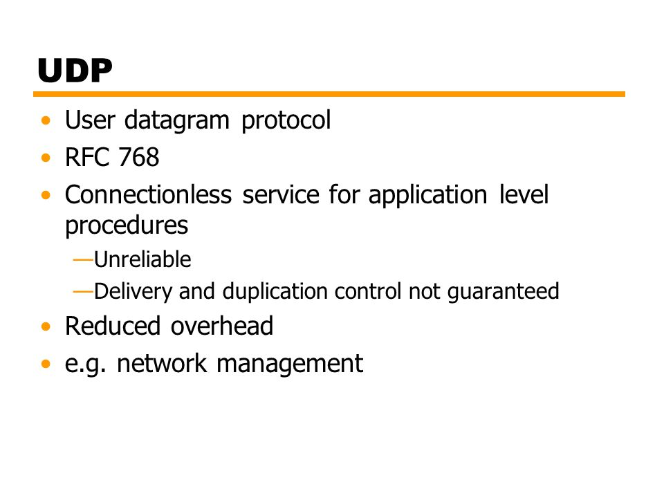 UDP User datagram protocol RFC 768