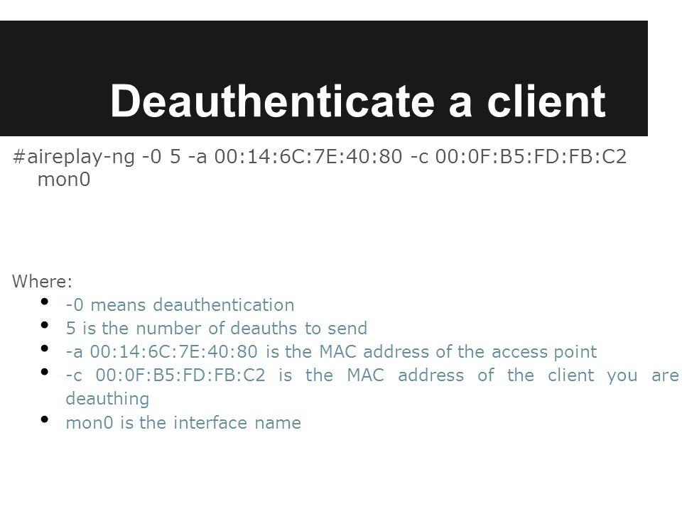 Deauthenticate a client