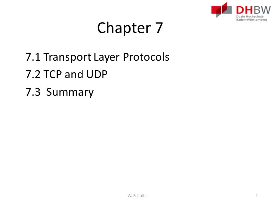 Chapter 7 7.1 Transport Layer Protocols 7.2 TCP and UDP 7.3 Summary