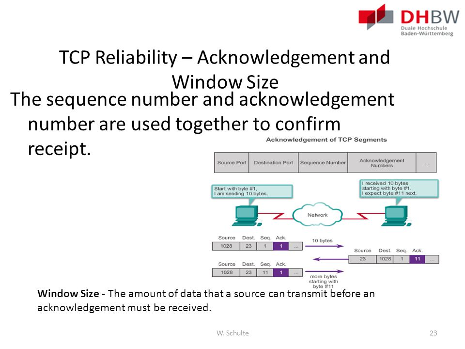 TCP Reliability – Acknowledgement and Window Size