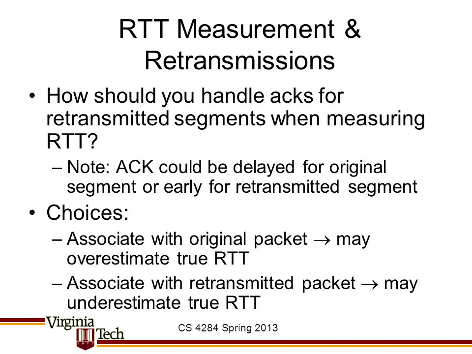 RTT Measurement & Retransmissions