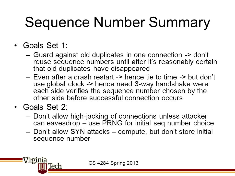 Sequence Number Summary