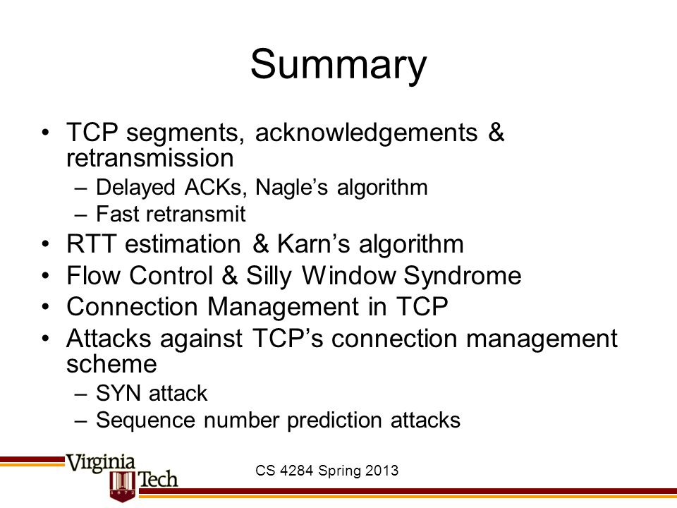 Summary TCP segments, acknowledgements & retransmission