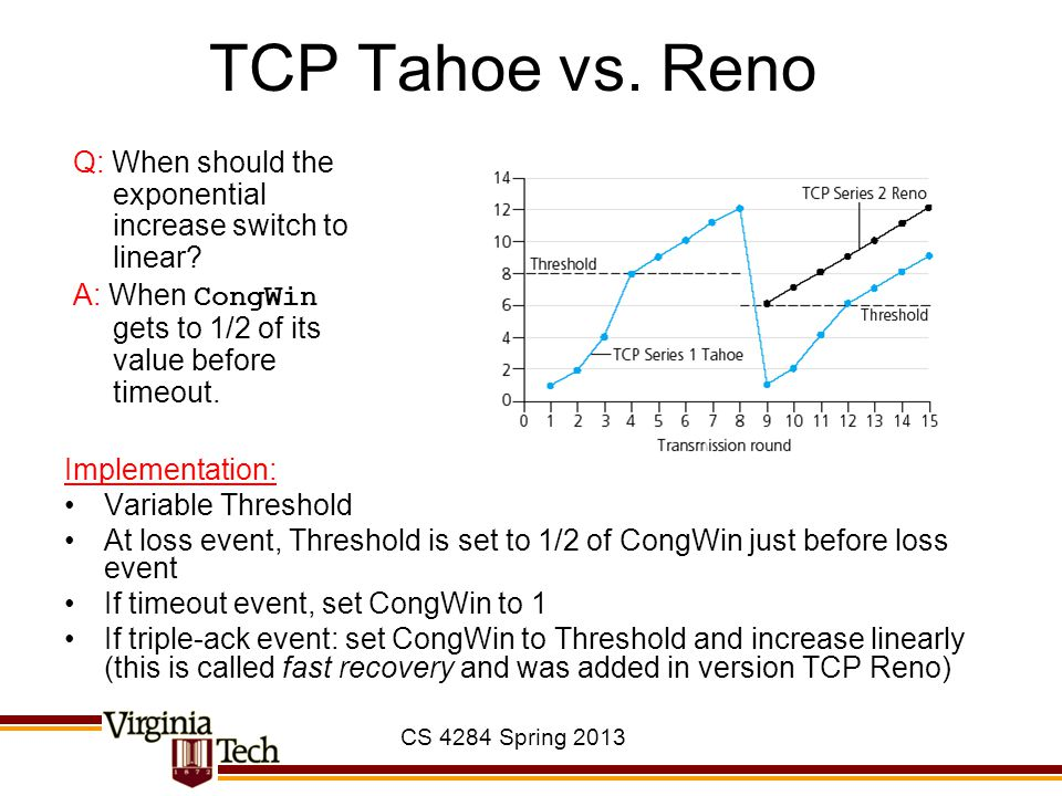 TCP Tahoe vs. Reno Q: When should the exponential increase switch to linear A: When CongWin gets to 1/2 of its value before timeout.