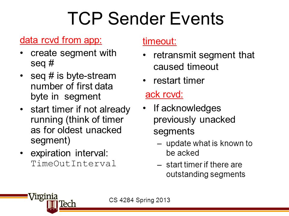TCP Sender Events data rcvd from app: create segment with seq #