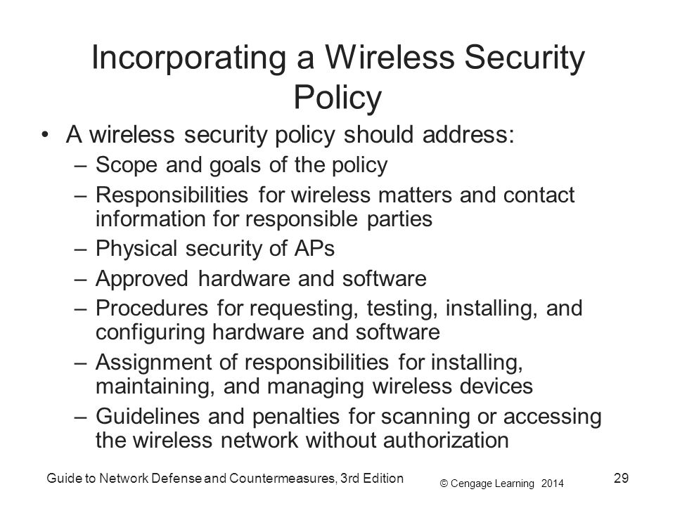 Incorporating a Wireless Security Policy