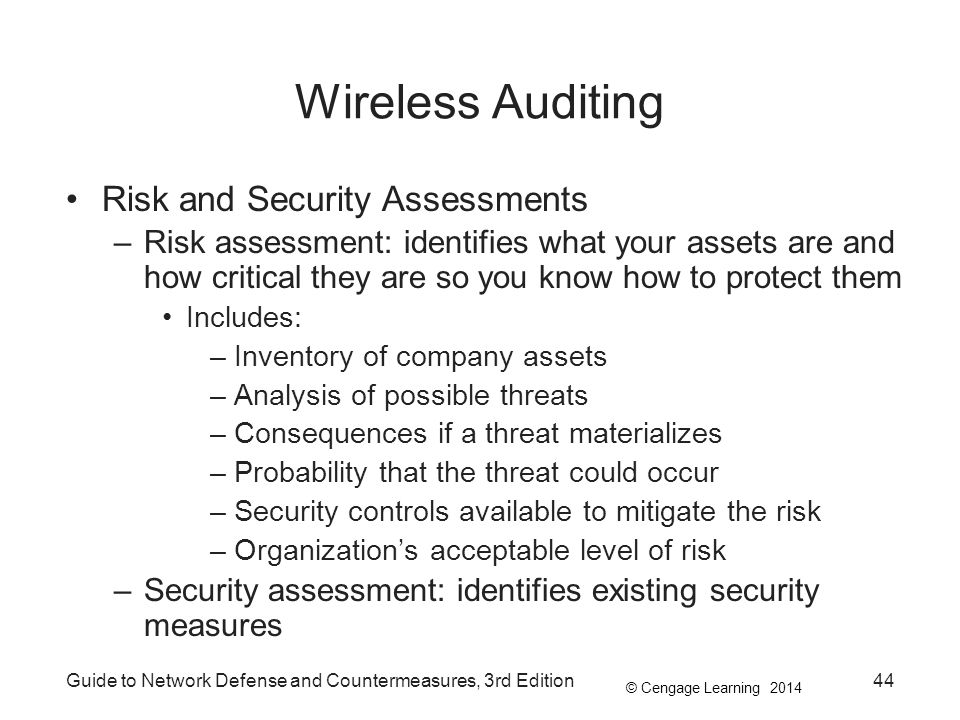 Wireless Auditing Risk and Security Assessments