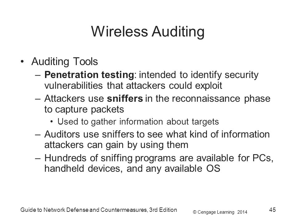 Wireless Auditing Auditing Tools