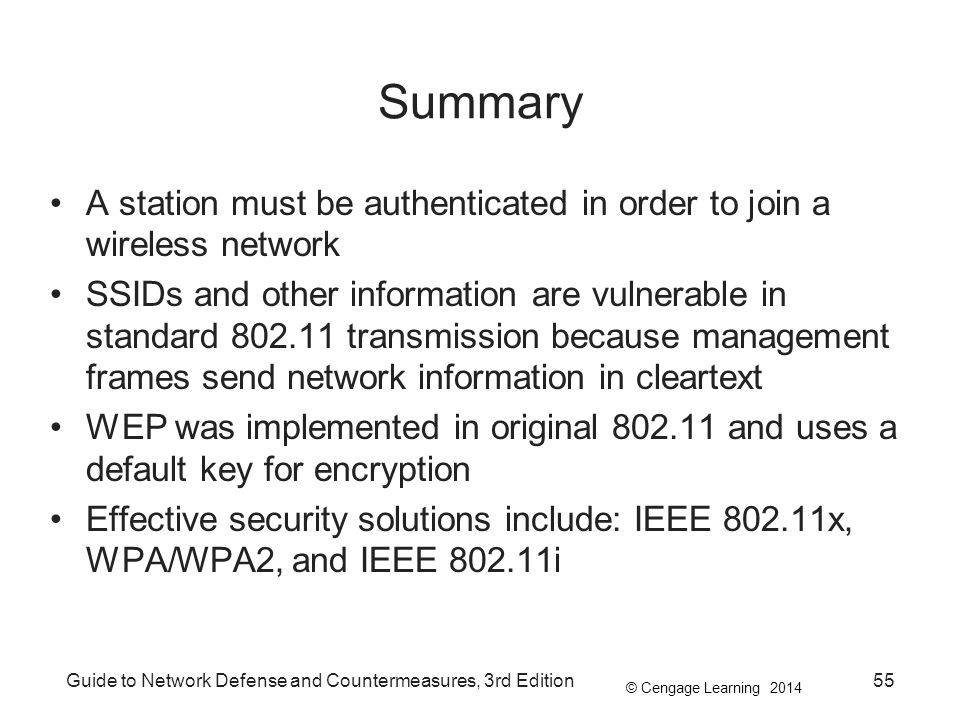 Summary A station must be authenticated in order to join a wireless network.