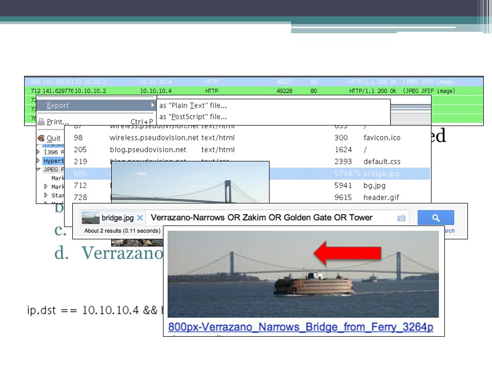 Practical Question - #20 The web page that the user at 10.10.10.4 visited has a picture of a bridge. Which bridge is it