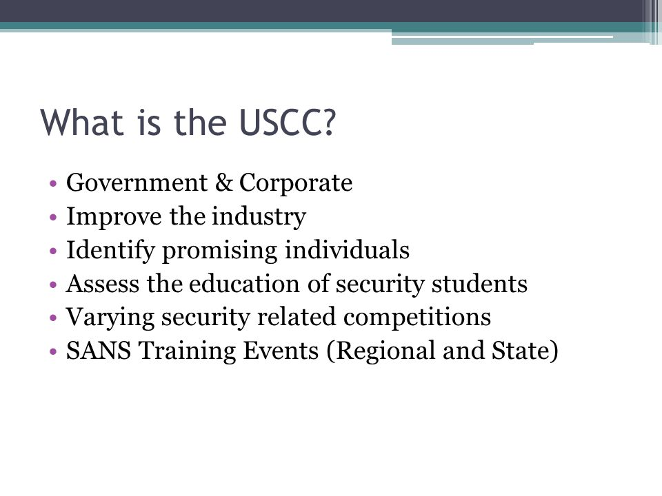 What is the USCC Government & Corporate Improve the industry