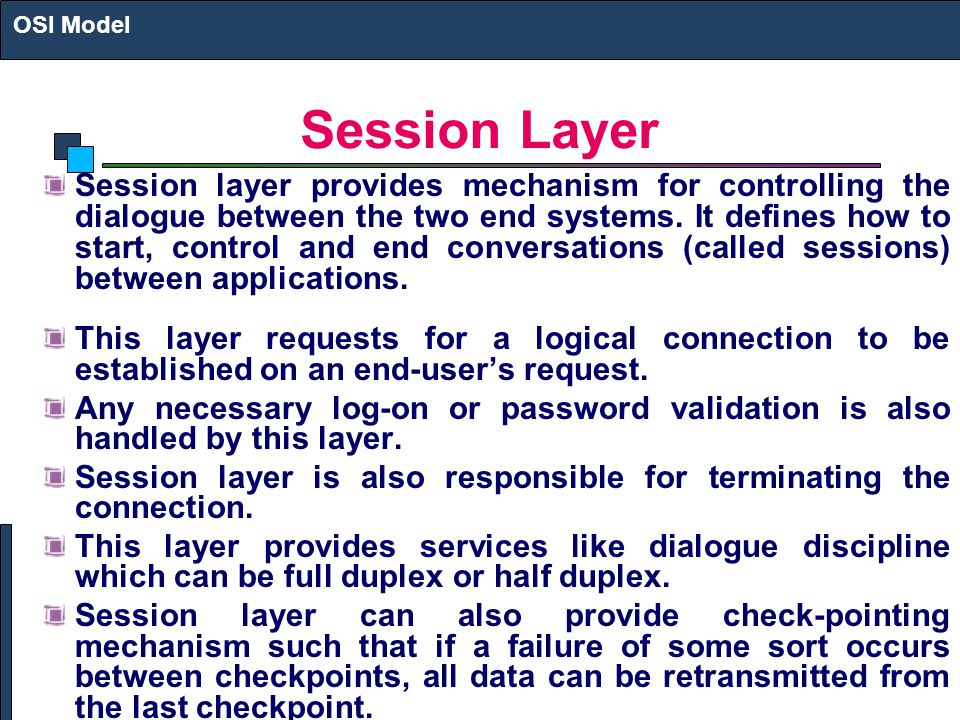 OSI Model Session Layer.