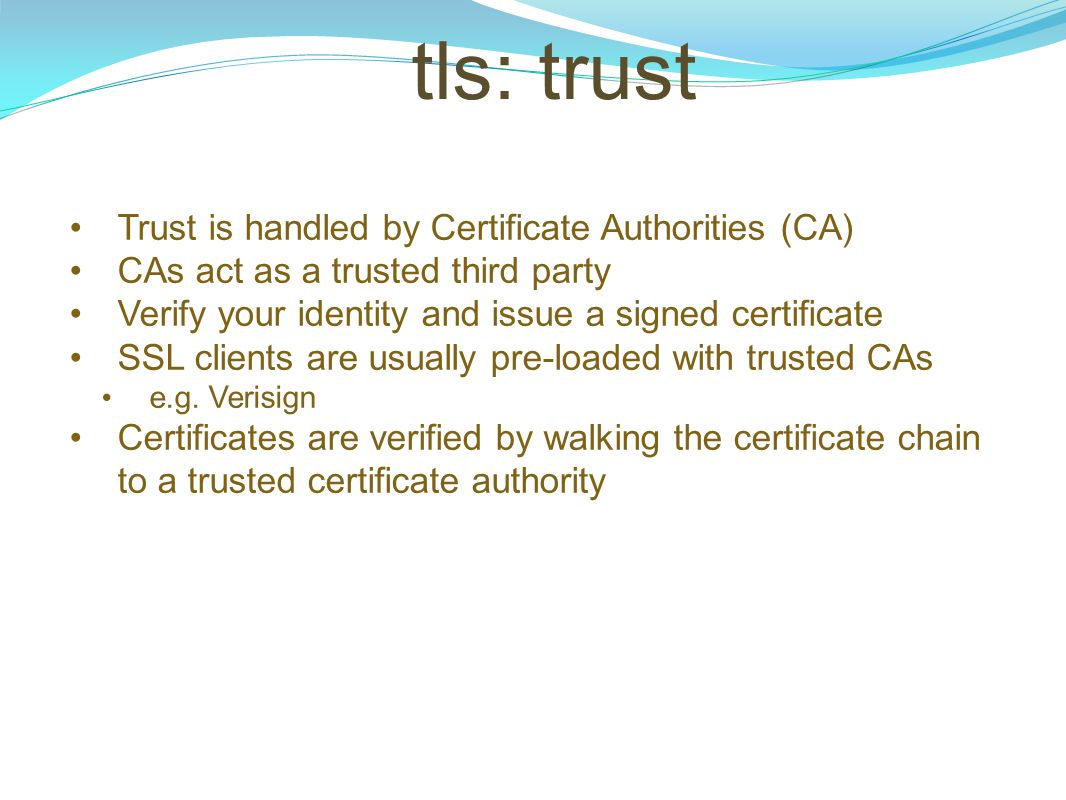 tls: trust Trust is handled by Certificate Authorities (CA)